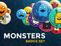 Cute Monsters - Button Badge Set
