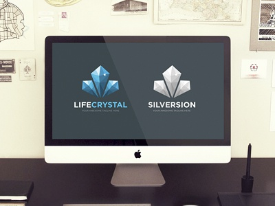 Life Crystal Logo Template 3d blue business clean crystal diamond fractal logo mineral poly relax vector