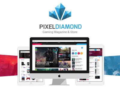 Pixel Diamond PSD Template magazine blog movie photoshop store shop gaming game ux ui web