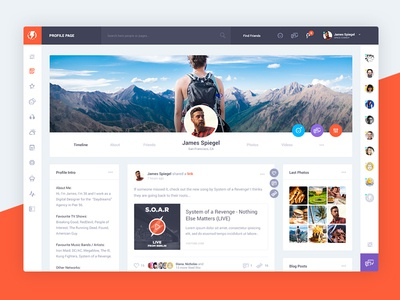 Olympus social network by odin design dribbble for Social network profile template
