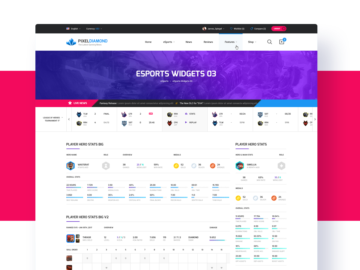Pixel Diamond HTML - eSports Widgets by Odin Design on Dribbble
