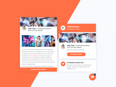 Asgard Social Plugin - Patreon wordpress artist art illustration plugin development css box message feed javascript js patreon social network social media social