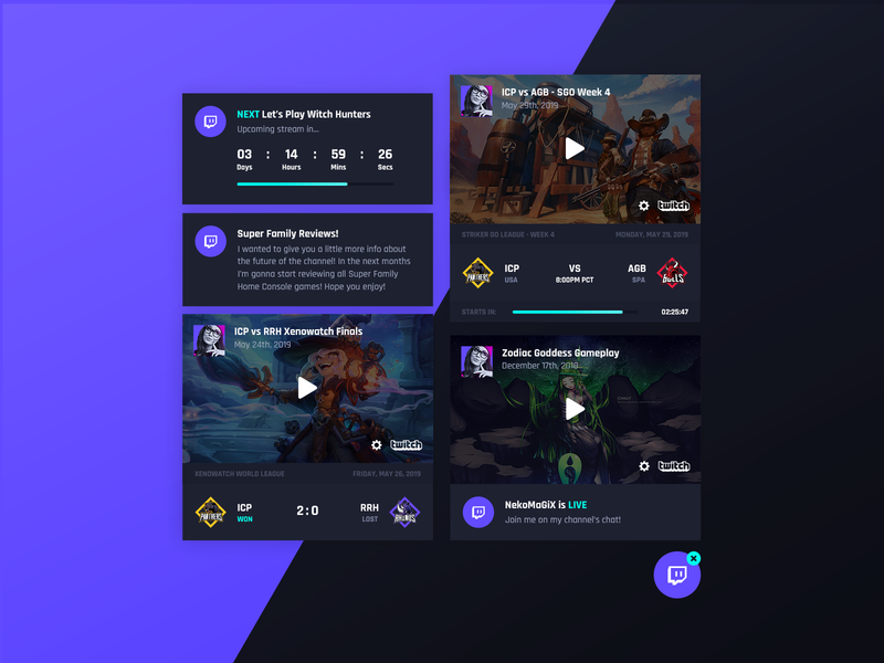 Asgard Social Plugin - Twitch wordpress live twitch.tv countdown plugin lol csgo fortnite overwatch league event match stream player esports team twitch streamer game gaming