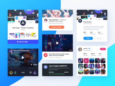 Asgard WordPress Plugin PSD Freebie player twitch.tv freebie instagram discord twitter patreon facebook video plugin wordpress card social youtube live stream team esports twitch