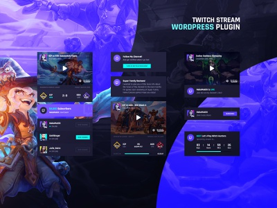 Asgard WordPress Plugin - Twitch UI Cards esports logo match event league fortnite overwatch lol streamer stream gamer gaming team ui  ux ui cards plugin wordpress twitch esports esport