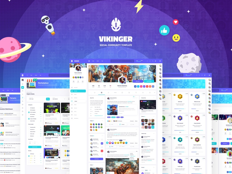 Vikinger - Social Network and Marketplace Template chat emoji emoticon reaction vector stream social profile network members marketplace illustration group gamification game forum event dashboard community badges