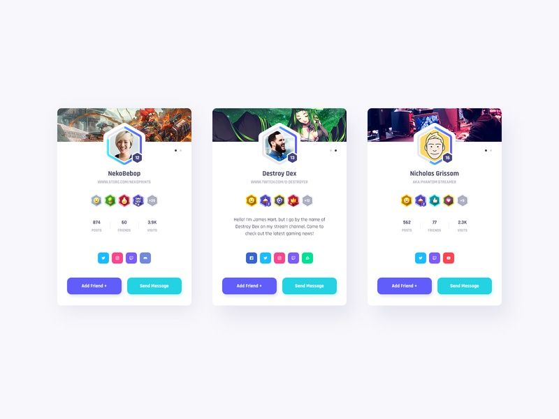 Vikinger Member Cards member card chat stream social profile network members marketplace illustration group gamification game forum event dashboard community badges