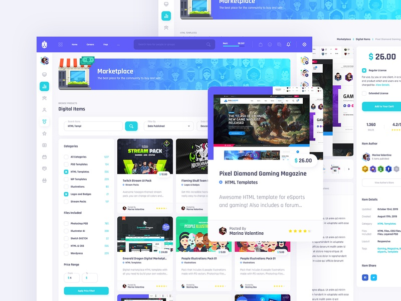 Vikinger Social - Marketplace Pages stream social profile network members marketplace illustration group gamification game forum event dashboard community badges