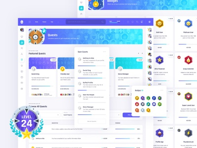 Vikinger Social - Gamification Pages ux ui icon widgets locked unlocked card member profile level progress badge coin gamification quest network community social badges