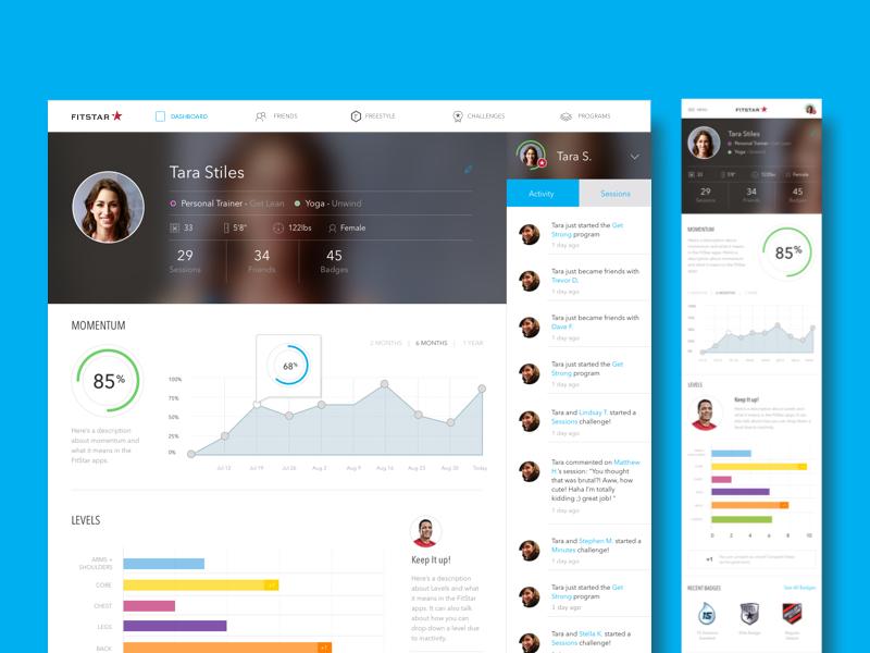 FitStar Web App Profile responsive fitbit momentum progress chart graph feed profile dashboard app web app fitness