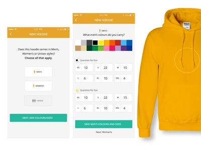 A Better Merch Creation Flow ecommerce shopping cart yellow band music color picker sizes clothing hoodie merch