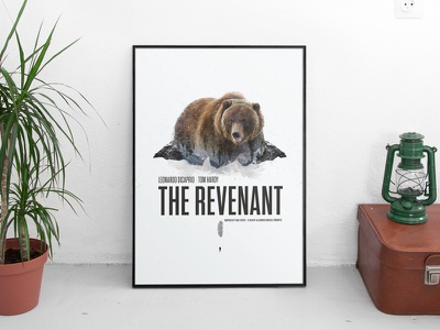The Revenant Poster Re-design movie poster double exposure geometric snow feather film outdoors nature bear poster