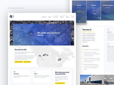 Q9 data center it tech clean minimal map gradient web
