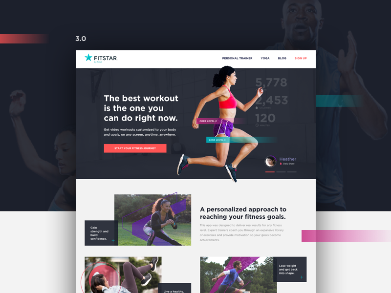 Fitstar by Fitbit website layout fitbit hardware app run health dark web ux ui fitness