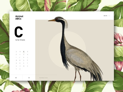 C is for Crane menu index alphabet white space nature floral flowers modern clean bird