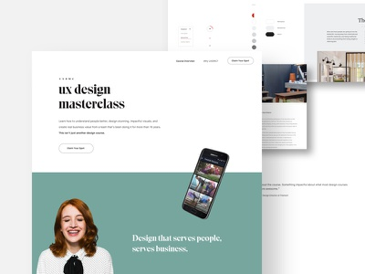 UX Design Masterclass school eksell green mobile ui web product minimal course learning education ux