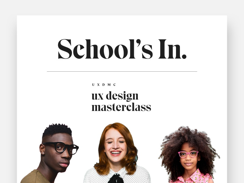 UX Design Masterclass class school onboarding learning student teacher ux minimal modern clean tools education