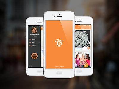 Like To Shop shop shopping app mobile instagram point share flat orange ux ui