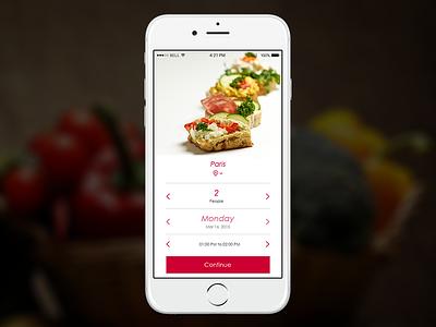 Restaurant Reservation mobileapp ux ui app mobile food booking book reservation restaurant