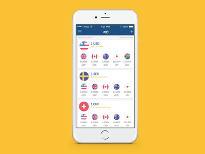 XE.com New concept freebies xe currency converter iphone ios usd ui ux mobile app flag