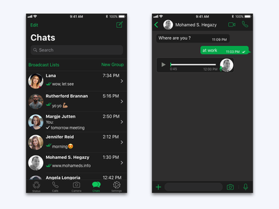 WhatsApp Dark Mood green black chat messager design ui ux mobile app whatsapp redesign mood mobile message ios iphone night mode black app dark mode dark app