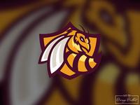Bee Head Logo Concept.