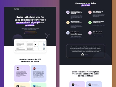 Swipe landing page clean colorful design colorful