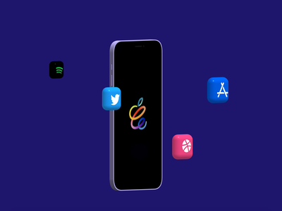 3D Purple iPhone 12 with 3d Icons 3d modeling spotify netflix twitter spine dribbble app store iphonex apple iphone 3d
