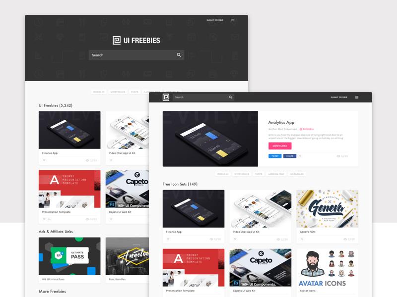 UI Freebies Site - Free Digital Downloads by Gene