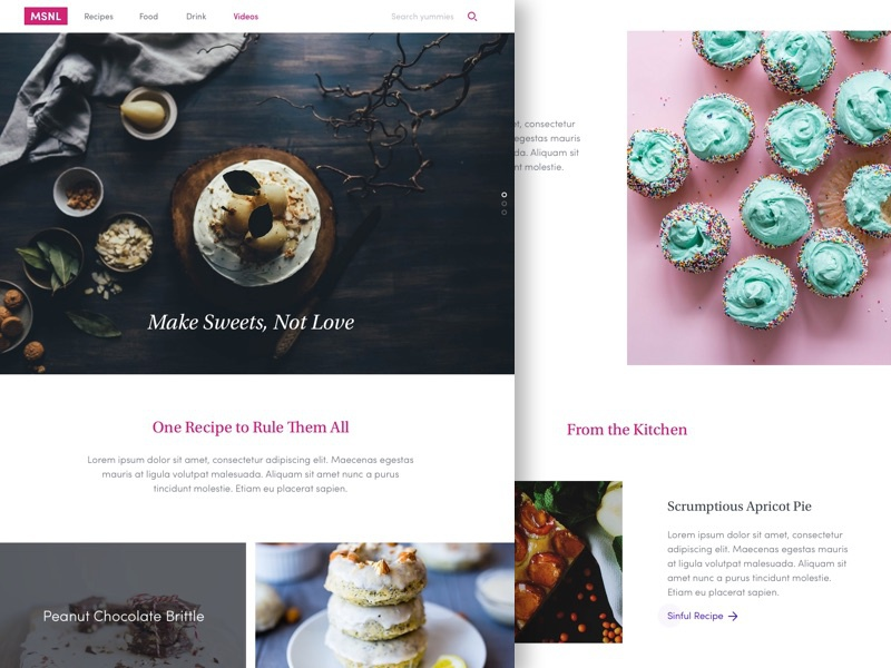 MSNL – Pastry Blog Page Sketch Freebie
