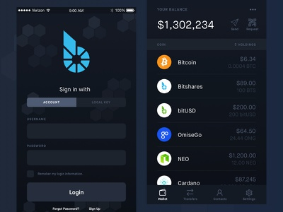 Bitshares Crypto Currency iOS Wallet Preview blockchain crypto ui cryptocurrency crypto wallet crypto bitshares