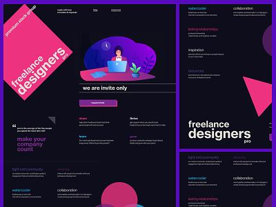 Slack Group for Freelance Designers pink dark landing page freelance slack group