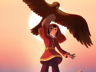 Mongolian Girl With Her Eagle