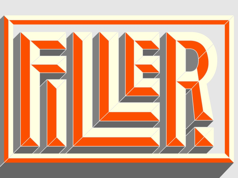 Bevel Level: Filler bevel filler typography orange box 3d