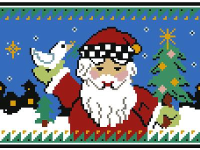 Pixel Santa pattern x-mas christmas cross-stitch pixel santa