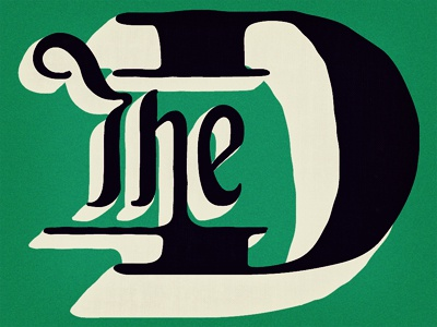 The (real) D the 3 3d typography vintage green noise