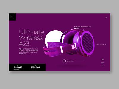Wireless headphone uxdesign purple freelance design webdesign website illustraion