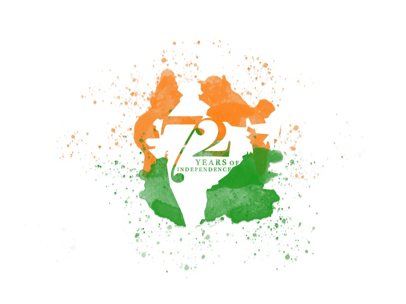 72 years splatter map world colour home summer typography indian flag minimal design illustration independence india