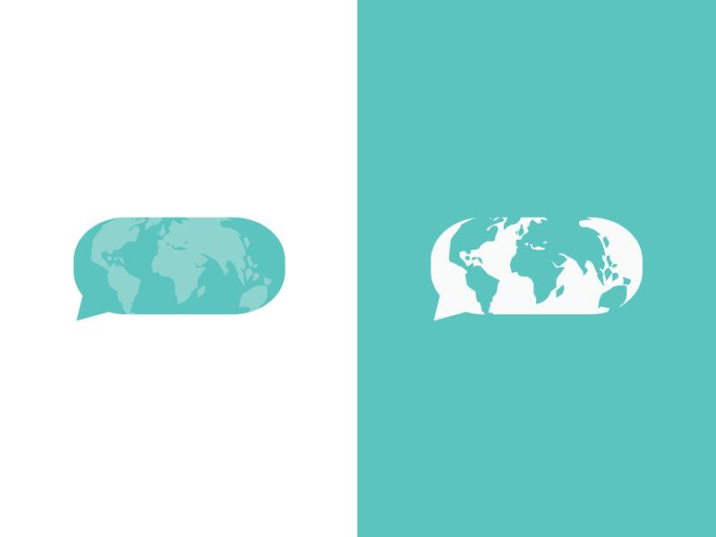 World Speech Logo two tone speech bubble speech map globe world logo branding minimal illustration
