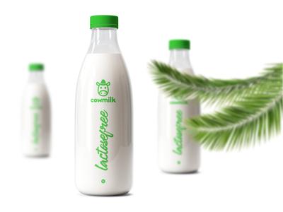Cowmilk Bottle Design #04 graphic design modern branding design branding script rectangle bright colors white lactose free green simple creativity cow milk istanbul color design bottle banana 2019