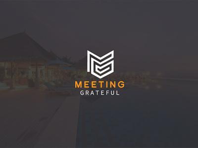 Meeting Grateful Logo Design illustrator web logo branding illustration designs letter retro designer logo minimalist minimal designer flat vector design meeting logo