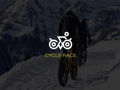 Cycle race logo lettering flat illustrator minimal web logo branding vector illustration design character cycle race logo