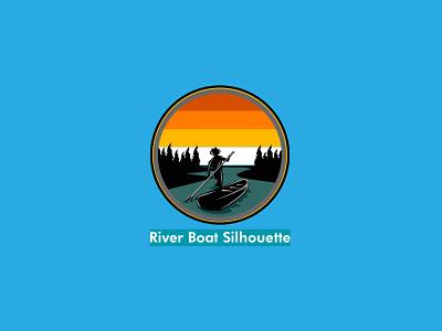 River boat siluhette logo ui typography flat logo website lettering flat illustrator minimal web logo branding vector illustration vintage retro design river boat logo