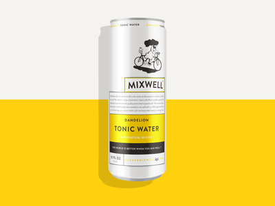 Mixwell Dandelion Tonic Water identity packaging design