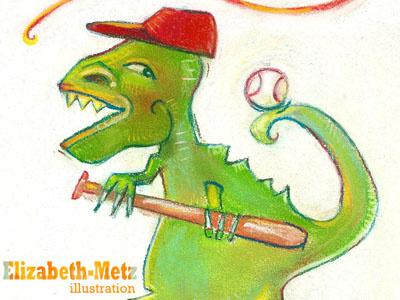 Roar illustration pastels dinosaur baseball