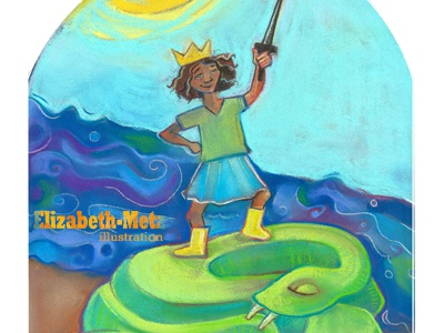 A river to forge, a serpent to slay illustration pastels drawing childrens
