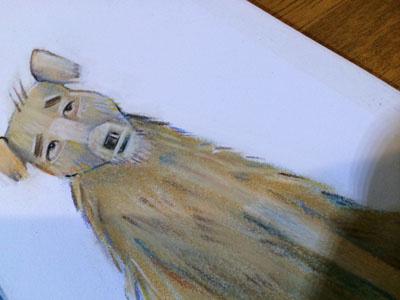 Skeptical pup pastels illustration dog animal childrens drawing