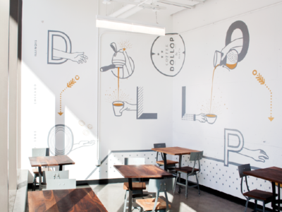 Coffee Hands Mural illustration cafe coffee dollop hyde park hand painted mural chicago