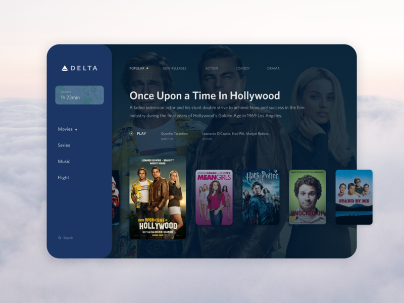 Delta Studio UI concept web redesign concept design minimal simple airline video travel blue interface ux ui app