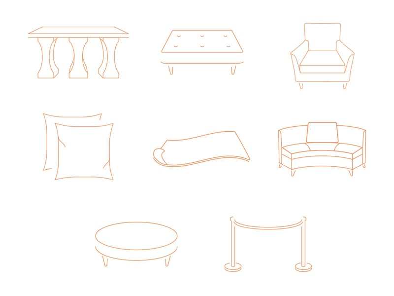 About Time Icons pillow table rug sofa chair rental event furniture brand identity web design site design icon set icon